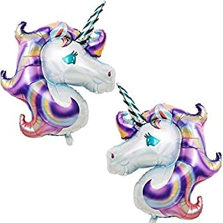 Purple Unicorn Head Balloons Birthday – Large, Pack of 2 | Mylar Foil Balloon Decorations Supplies Kit | Great for Unicorn...