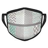 best& Pastel Polka Dot Y Chevron Patrón Set Cara Cubierta Escudo Boca Cuello Bufanda Unisex A Prueba de Viento Transpirable Reutilizable Anti Polvo Escudo Negro