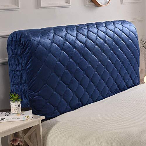 Stoff Stepp All-inclusive Kopfteilbezug Massivholzbett Kopfstütze Bedside Decoration Protector Staubschutz Waschbar,Blue