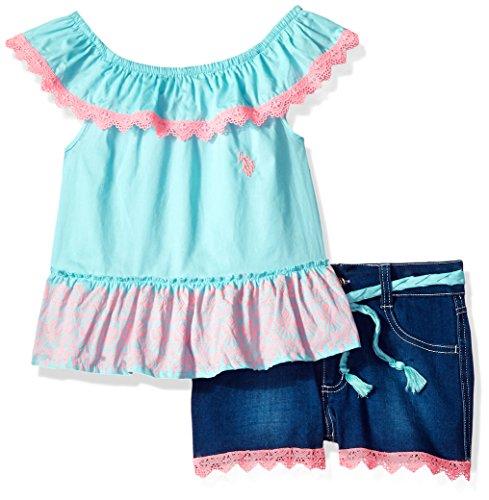 U.S. Polo Assn. Girls' Little Fashion Top and Short Set, Ruffle Neckline Poplin Denim Bermudas Multi, 6