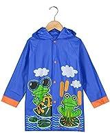 Puddle Play Little Boys Frog Rain Slicker Outwear Hooded - Size 2-3