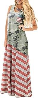 Women's July 4th American Flag Printed Sleeveless Maxi Dress