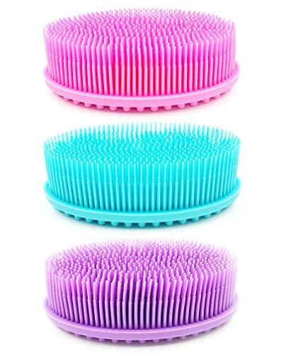 3 Pieces Silicone Body Scrubber, Bagvhandbagro Soft Silicone Loofah Body Scrubber Brush Bath Shower Scrubber for Kids Women Men Skin Exfoliation Massage Dry Brushing Body Brush