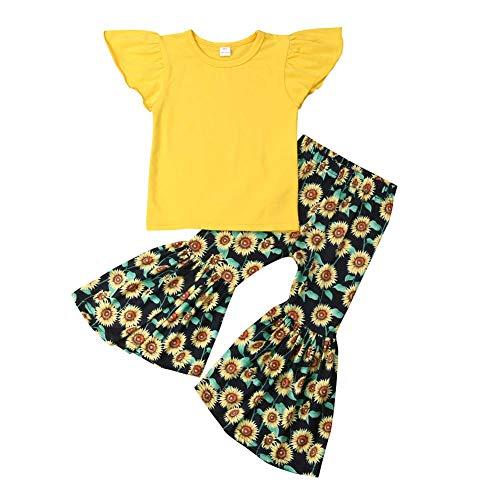 Xmas gift Conjunto de Ropa para niñas y bebés con Volantes y Camiseta + Pantalones de Girasol - - 2-3 años