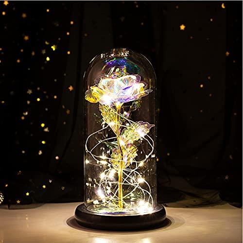HEXUP die Schöne und das Biest Rose, ewiges Rose im Glas warmweißen LED-Lichte verzaubertes Geschenk Lampe der Rose Haus Dekoration für Valentinstag Weihnachtstag Geburtstag (Goldenes + warmes Licht)