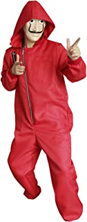 Men Boy Red Dali Group Carnival Halloween Costume Coverall Hoodie Jumpsuit with Mask
