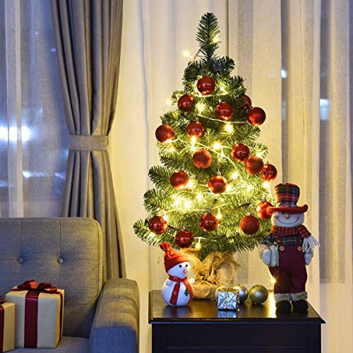 Shake & Shop Leva House 2 Foot Christmas Tree Artificial Christmas Trees Reusable Xmas Tree Tinsel Trees Collapsible with Stand for The Home Decoration Office Party Fireplace Classroom