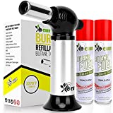 Burst Kitchen Torch, Blow Torch - Refillable Butane Torch With Adjustable Flame & Safety Lock- Culinary Torch, Creme Brûlée Torch For Cooking Food, Baking, BBQ & More - 2 Can Included By Jo Chef