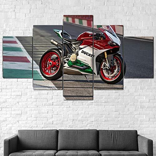 XIAYF Cuadro en Lienzo Ducati 1299 Panigale R Motorcycle Decoracion Dormitorios Impresión HD de 5 Piezas Material Tejido no Tejido Impresión Artística Imagen Decoracion de Pared Marco 150x80cm