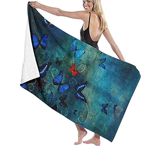 Qinckon Schmetterlinge auf Blau von Lily Greenwood Strandtuch Persönlichkeit Schwimmbad Wasser übergroße Badetuch