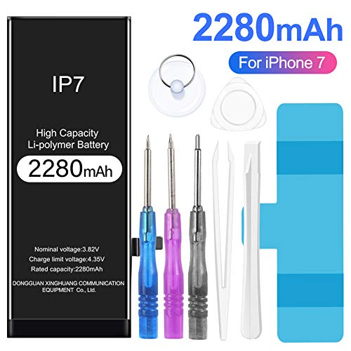 Rommisie 2280mAh Battery for iPhone 7 Battery Replacement, high Capacity, Polymer Lithiumion, Equipped with a Full Set of Professional Maintenance Kits, adhesives and Instructions - Two-Year Warranty
