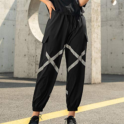 QiHaoHeji Reflektierende Hose, schnelltrocknend, lockerer Verschluss, für Damen, Nacht, Fitness, Yoga, reflektierende Sporttaschen, fluoreszierende Hose X-Large A801