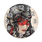 Eileen Max Reloj de Pared Redondo Chica Tatoo Relojes de Escritorio Decoración de Metal Mudo para Garaje Cocina Personalidad Barrido preciso