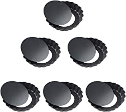 Quiche Pans,Mini Tart Pan with Removable Bottom,Non Stick Small Pie Tins for Baking,4 Inch ,Set of 6