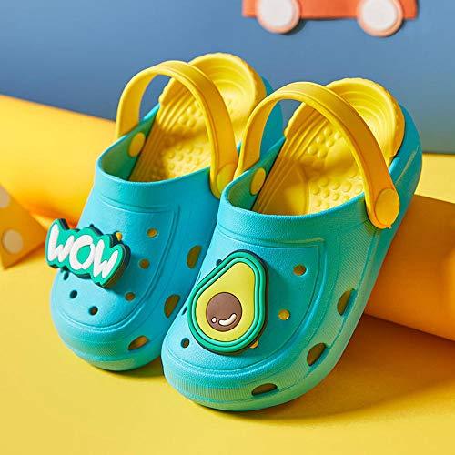 COQUI Zapatillas casa Hombre Divertidas,Nuevas Zapatillas para niños, Frutas Lindas de Dibujos Animados de Verano, Zapatos con Agujeros de Moda Fuera de casa-Lago Azul_200