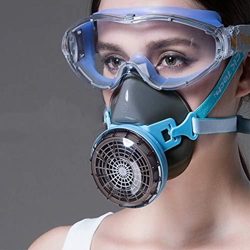 WFWPY Helm Vollgesichtsbeatmungsgerät Verstellbare Strap Doppelfilter Atemschutz Profi Aktivkohle für Farbspritz Staub Schutz Geruchsminderung Pestizide Formaldehyd Farblack