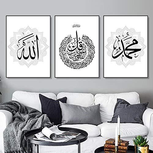 OCRTN Moderne arabische Kalligraphie Islamische Wandkunst Leinwand Malerei Poster und Druck Bilder für Wohnzimmer Interior Home Decoration - 40x50cmx3 (kein Rahmen)