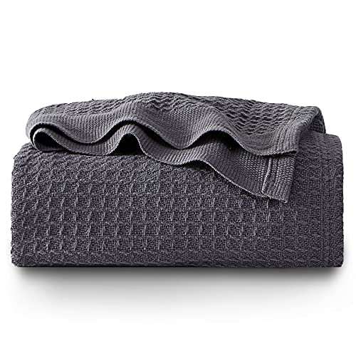 BEDSURE Cotton Sofa Throw Blanket - Waffle throws for Sofa, Armchair, Bed and Couch, Dark Grey, Single, 130x150cm