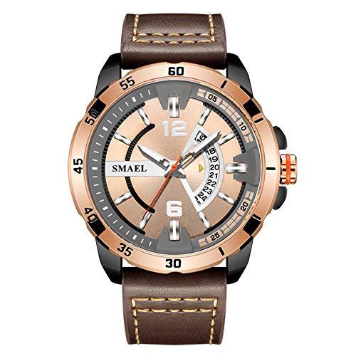 JTTM Reloj De Hombre Cronógrafo Analógico De Cuarzo Reloj De Pulsera Impermeable para Negocios con Correa De Cuero,Rose Gold