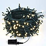 EEW 95FT 240LED Christmas Lights, Waterproof LED String Lights Indoor/Outdoor, 8 Mode Green Wire Clear Bulbs Twinkle Lights for Xmas Tree Decorations Wedding Party (Warm White)