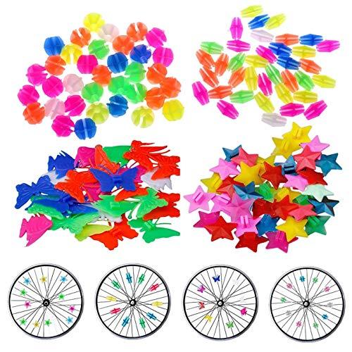 Zuzer 280pcs Vélo Spoke Clip Perle Coloré Roue de Vélo Décoration Spoke Fil Perles Décoratives Accessoires Vélo Enfant