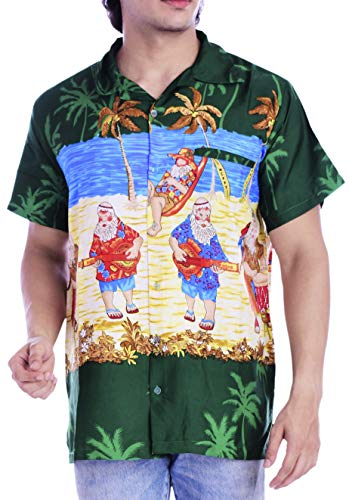Virgin Crafts Christmas Hawaiian Shirt for Men Santa Claus Casual Party Beach Vacation Shirt