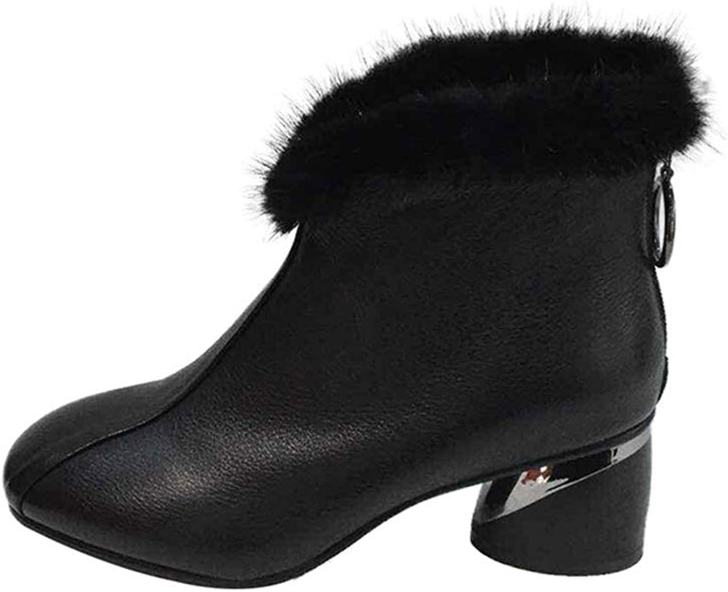 Exing Womens's Boots, Fall Winter Leather Fashion Boots Plus Velvet Increase Heig