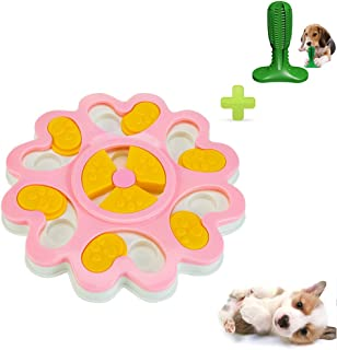 Pet Treat Intelligence Dispenser Toy, Increase IQ Interactive Feeding Training Games Feeder Puzzle Toy for Mini Dog Puppies with Toothbrush