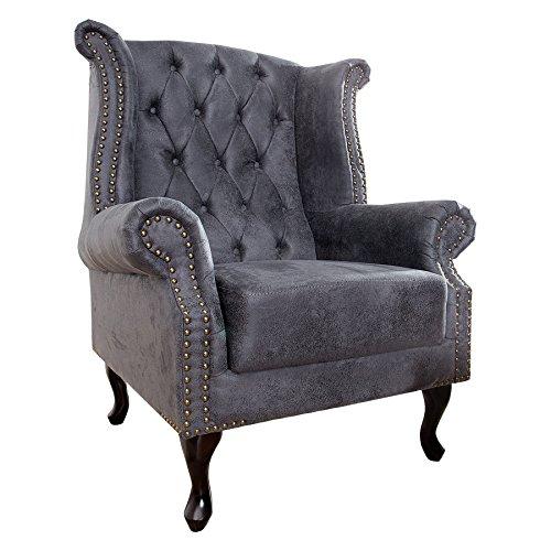 Invicta Interior Edler Chesterfield Ohrensessel antik grau mit Knopfheftung und Nietenbesatz Sessel Clubsessel Wohnzimmersessel