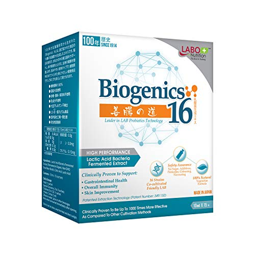 LABO Nutrition Biogenics 16–Lactic Acid Bacteria Fermented Extract, 1000x More Effective, Gut Health Support Beyond Probiotics & Prebiotics, Improve Intestinal Skin and Immune Health, 10mlx15 sachets