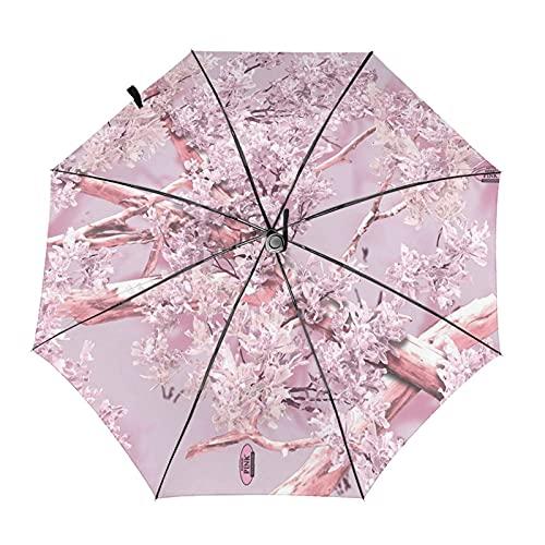 Sombrilla de viaje de camuflaje rosa sombra paraguas plegable portátil compacto ligero diseño automático y alta resistencia al viento
