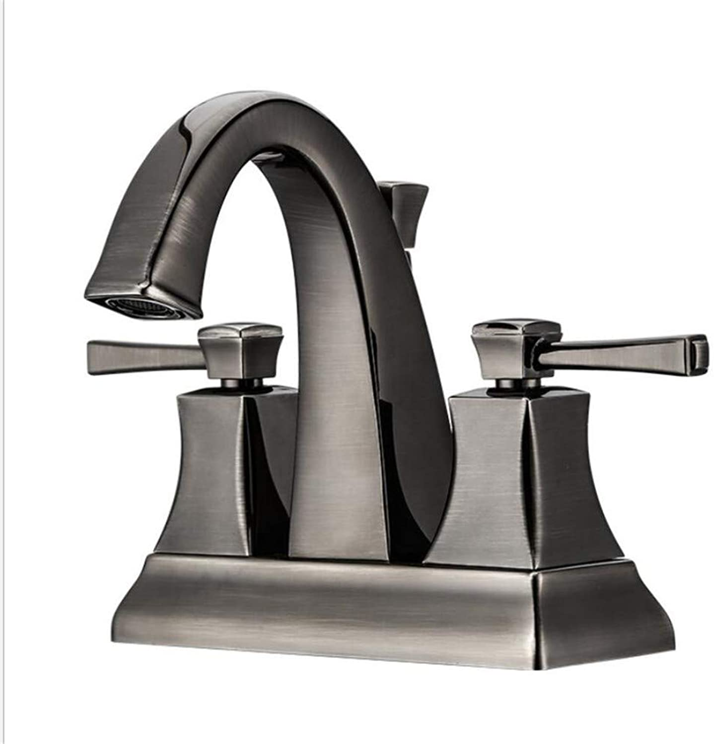 Bathroom Sink Basin Lever Mixer Tap Copper-Faced Basin Faucet Mixes Three-Hole Cold and Hot Washbasin with Water