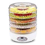 KAUTO Deshidratador de Alimentos, termostato Ajustable para Control de Temperatura, tecnología patentada, 5 bandejas apilables, Temporizador Digital de 250 W, Apto para lavavajillas sin BPA