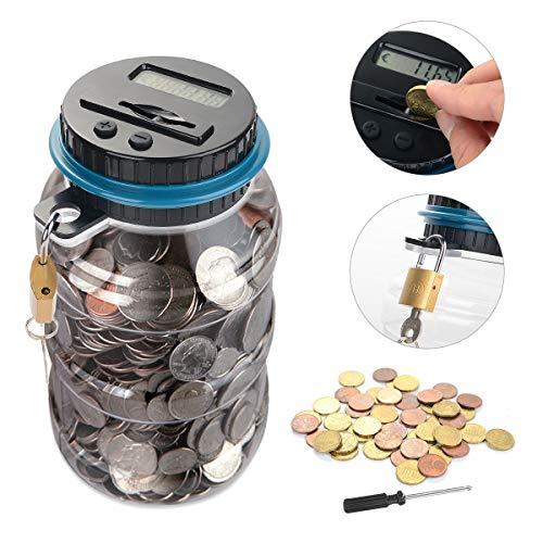 Ulikey Digitale Spardose mit Münzzähler, Automatischer Münzzähler mit LCD Anzeige, Geld Sparen Box Digital, Spardose Zähler Münzen Zählwerk für Kinder und Erwachsene