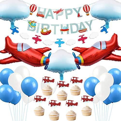JOYMEMO Flugzeug Geburtstag Dekorationen Vintage Flugzeug Cloud Folienballons Geburtstag Banner Cake Topper für Flugzeug Party Supplies