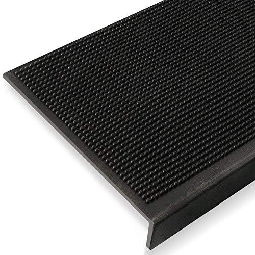Antirutsch Stufenmatten aus Gummi mit Winkelkante | rutschhemmend für außen und innen | zwei Größen zur Wahl im 5er Set | viele Designs für Ihre Treppe | Design Noppen - 75 x 25 cm