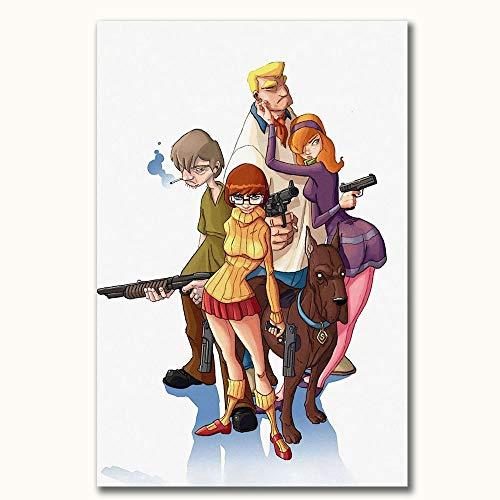 FOCLKEDS Scooby Doo Mystery Mayhem TV Show Poster Scooby Doo, tela artistica da parete per bagno, 61 x 91,4 cm