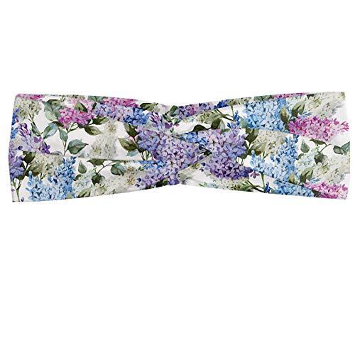 ABAKUHAUS Lilas Bandeau, Fleurs lilas colorés en herbe efflorescence saison Soulful printemps dans le pays, Serre-tête Féminin Élastique et Doux pour Sport et pour Usage Quotidien, Multicolore