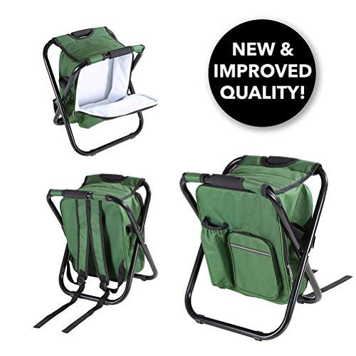 Sac à dos pliant de tabouret de chaise de camping avec le sac de pique-nique isolé par refroidisseur, sac portatif de Tableau de double couche de tissu d'Oxford pour le siège extérieur, vert d'armée