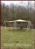 Battle-Merchant Bâche de protection anti-déchirure de qualité supérieure avec anneaux triangulaires, 350 g/m², couleur naturelle, différentes tailles (3 x 4 m)