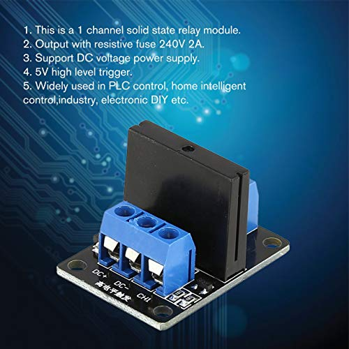 1-Kanal-Halbleiterrelais-Modulplatine Hochpegel-Trigger SSR-Eingang 5 V DC-Ausgang 240 V AC 2A-Sicherung für Arduino-SPS-Controller - Blau und Schwarz