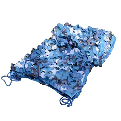 BRFDC Red de Camuflaje Red de Camuflaje, Lona Azul Azul Protección Solar for Acampar Paño de Oxford Adecuado for Carpa Caza de Tiro for Acampar (Color : S, Talla : 10m × 30m)