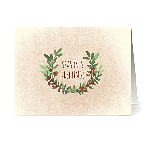 Note Card Cafe Christmas Card with Envelopes | 36 Pack | Blank Inside, Glossy Finish | Season's Greetings Greenery Designs| Set for Holidays, Winter, Gifts, Presents, Secret Santa, Work Parties