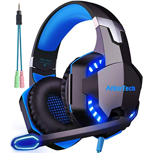 Gaming Headset für PS4 PC Xbox One mit Mikrofon, Over Ear Stereo Sound Gamer Kopfhörer PS4 with Noise Cancelling Mic LED Licht und Game & Chat Lautstärkeregler 3.5mm für Laptop Switch Computer Tablet