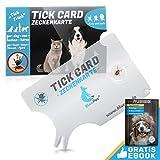 Bluepet® 1x Zeckenkarte mit Lupe im Scheckkartenformat | Zeckenentferner zur Entfernung von Zecken & Nymphia bei Mensch und Tier | Tick Card als erste Hilfe für Hund & Katze im Haus (1x Set)