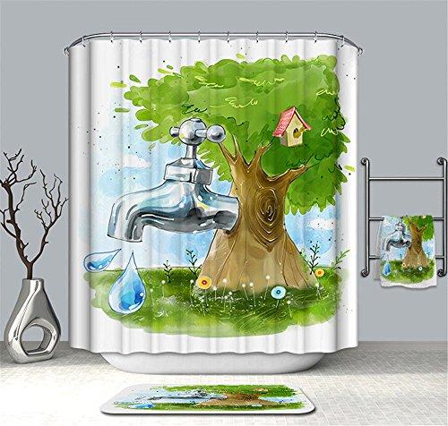 Hlluya Professional Sink Mixer Tap Keuken Kraan Cartoon kraan douchegordijn, badkamer waterdicht Anti-meeldauw gordijnen blokkeren gordijnen, met 12 haken, 100% ester productie,W180*H180CM