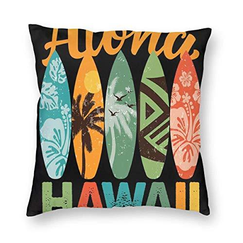 JONINOT Tabla de Surf Retro Hawaiana Aloha Hawaii Square para el hogar, sofá, Dormitorio, Fundas de Almohada Suaves de 18 x 18 Pulgadas