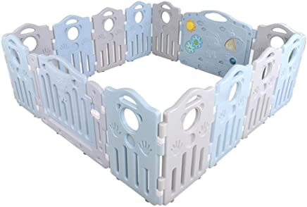 WANNA ME Baby Playpen Baby guardrail Fence Safety Toddler Crawling bar Climbing mat Game Pool Home Shatter-Resistant Fence Strong and Durable Made from Non-to  Color Blue