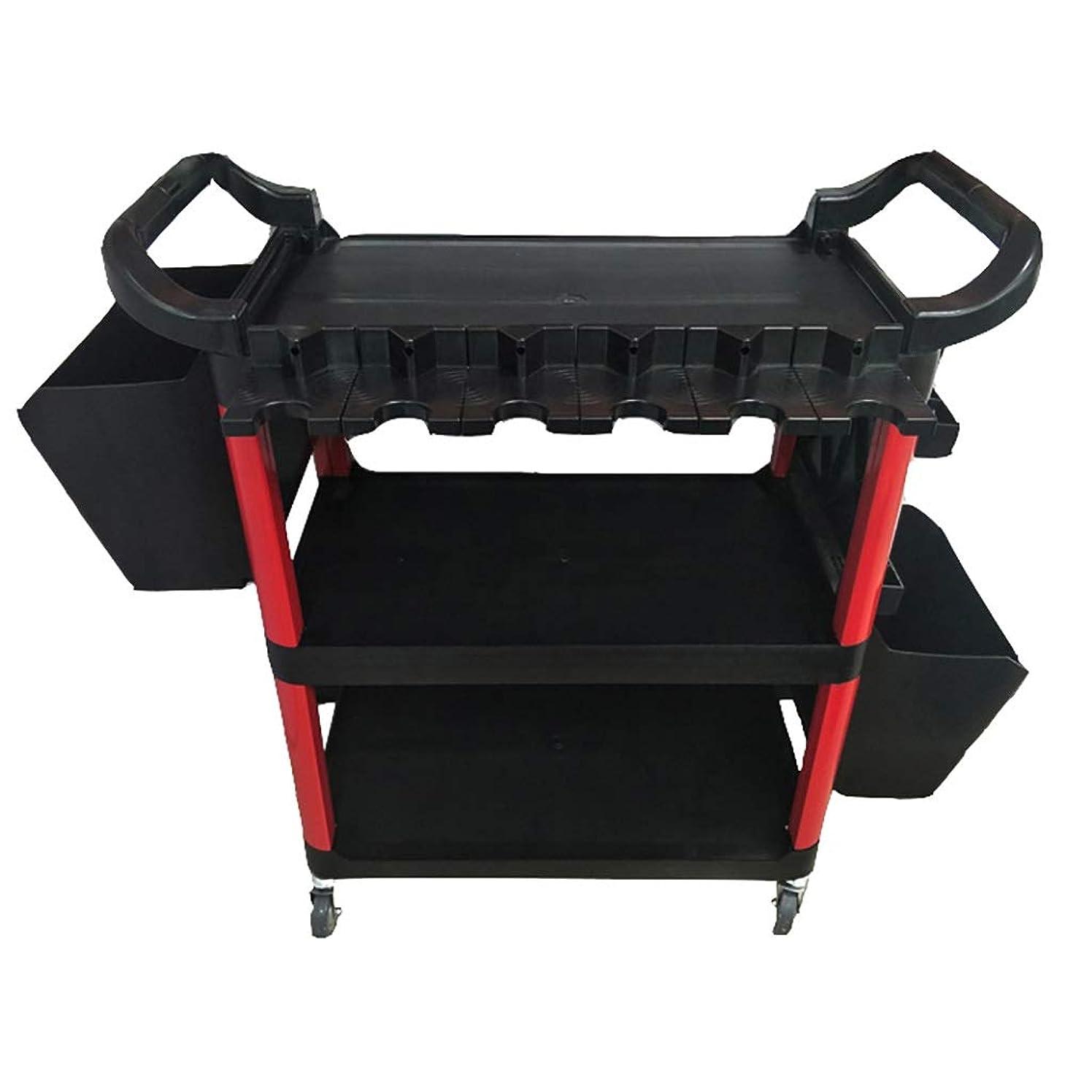 実行可能逆説腕車の美容室ツールカート、黒赤ブラシ散水することができます三層スチーム美容ハンドカート洗車機器、85 * 43 * 94 cm