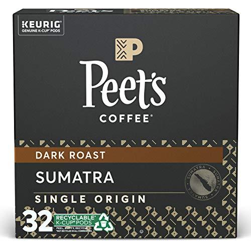 Peet's Coffee Single Origin Sumatra K-Cup Coffee Pods for Keurig Brewers, Dark Roast, 32 Pods